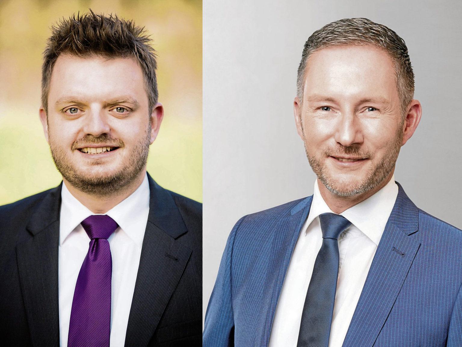 v.l.n.r.: CDU-Fraktionsvorsitzender Michael Schönbeck, FDP-Fraktionsvorsitzender Stephen Paul